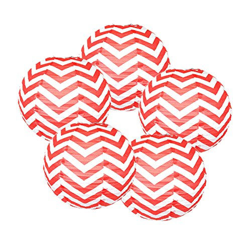 Just Artifacts 16'' Chinese Japanese Paper Lantern Fruit Punch Chevron - (Set of 5) by Just Artifacts