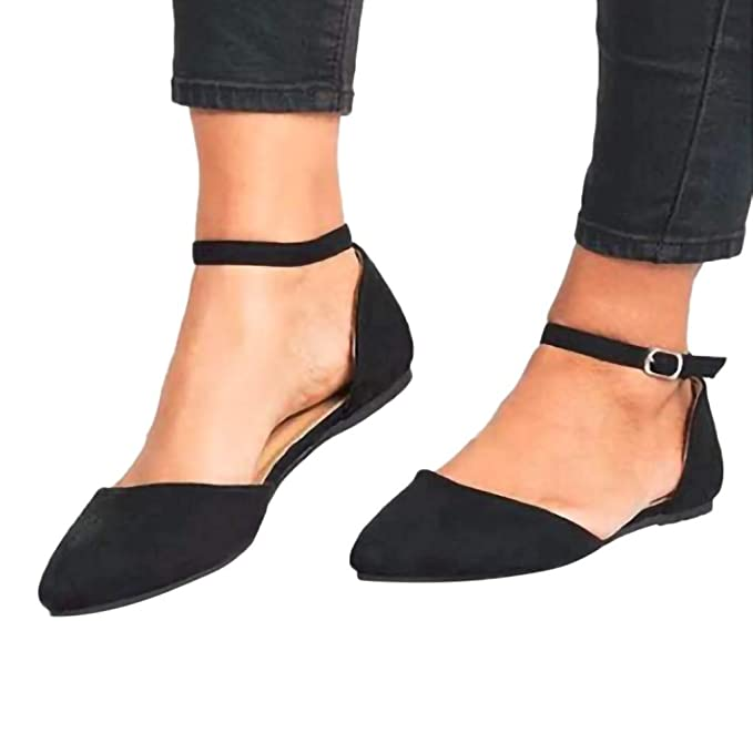 27c9033e0a781 Amazon.com: Womens Retro Pointed Toe Sandals Buckle Strap Ankle ...