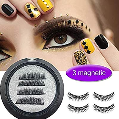 Magnetic Eyelashes reutilizable Magnetic Eyelashes 3d False Eyelashes, aspecto natural para extensión de pestañas de maquillaje, Faux Cils magnéticos para ...
