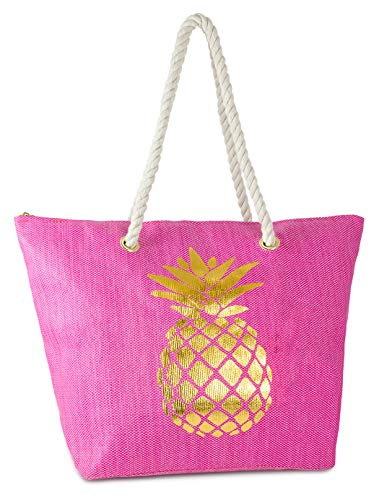 BG-717-PINEAPPLE24- Beach Bag - PINEAPPLE (Hot Pink) -