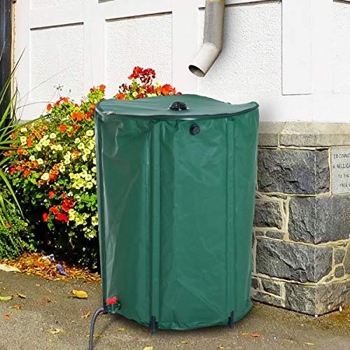80 Gallon Rain Barrel Rainwater Collection Tank Runoff Water from Downspout Foldable Design Large Water Capacity Outdoor Garden Lawn Care Green