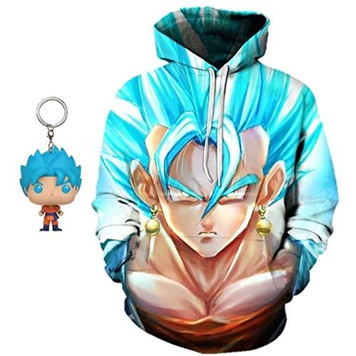 3Square Unisex Dragon Ball Z Pullover Sweatshirt Hoodie with Free Super Saiyan Blue Goku Dragon Ball Keychain (Tag XL/US Medium, SSB Vegito Stare)