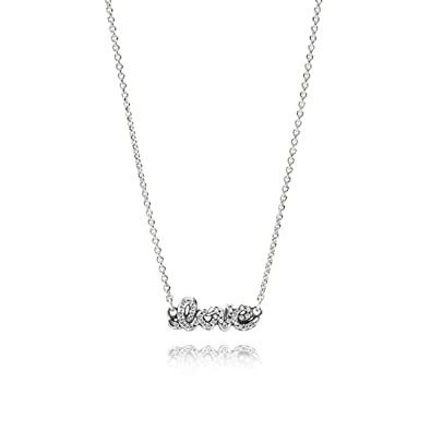 098e77133 Pandora Sterling Silver Cubic Zirconia Signature of Love Necklace -  590415CZ-45 - Stories Collection - 45 cm - 17.7 inches: Pandora:  Amazon.co.uk: Jewellery