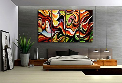 Huge Canvas Print Wall Art Rainbow Colorful Abstract Painting Contemporary Image, Oversized Abstract Wall Art, Living Room, Clinker by Bo Yi Wall Art