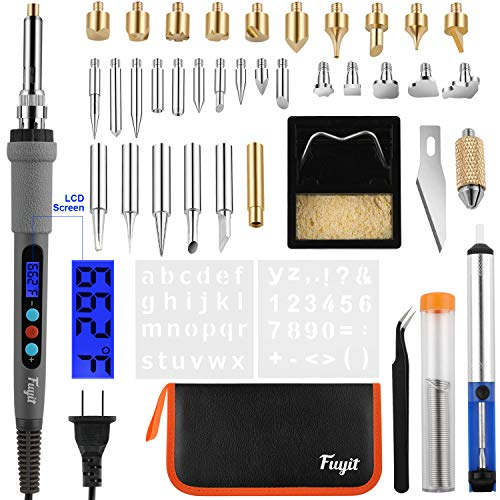 Fuyit 42Pcs LCD Wood Burning Kit, Pyrography Pen with Various Temperature Control, Woodburning Craft Tips for Wood Burning, Soldering, Carving, Embossing (Best Wood Burning Tool)