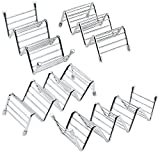 Coobey 4 Pack Stainless Taco Holders Steel Taco Stand Rustproof Taco Rack Hold 10 or 14 Hard or Soft Shell Tacos Truck Tray Style Oven Safe for Baking