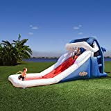 Blast Zone Great White - Wild Inflatable Slide with Blower - Dual Racing Slide - Climbing Wall - Set up in Seconds