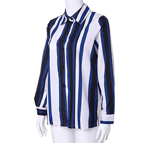 Bouton Col Manche Mousseline Blouse Tunique Bleua Imprim Femme Mode V Rayures XL Blouse Femme Top S Longue Imprim Chemisier Top OXnPwRYxqt