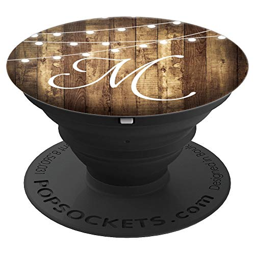 M Monogram Rustic Letter Wood Grain Wooden Look Name Initial - PopSockets Grip and Stand for Phones and Tablets