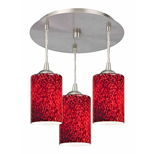 - 3-Light Semi-Flush Light with Red Glass - Nickel Finish