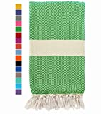 Eshma Mardini Natural Turkish Towel Peshtemal - 100% Natural Dyed Cotton - for Beach Spa Bath Swimming Pool Hammam Sauna Yoga Pilates Fitness Gym Picnic Blanket - (Green)