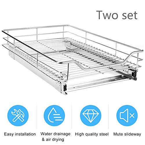 EASYTECH Pull-Out Sliding Cabinet Organizer Storage Basket Rack Drawer for Wardrobes Cupboards,2 Set -