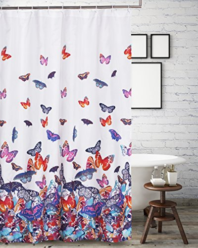 Delicate Barefoot Bungalow Mariposa Shower Curtain Multicolor