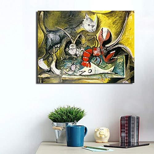 YuanMinglu Famoso Pintor Langosta y Gato HD Lienzo Pintura ...
