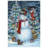 Festive Snowman – STANDARD Size, 28 Inch X 40 Inch, Decorative Double Sided Flag MADE IN USA by Custom Décor Inc.
