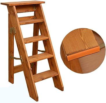 KFDQ Inicio Taburetes, 5 escalones Taburete Escalera Silla Silla plegable de madera maciza de moda Escalera multifunción Plegable Biblioteca del hogar Cocina Pasos de oficina Carga máxima 120 kg,si: Amazon.es: Bricolaje y