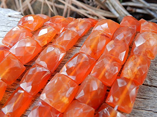 Carnelian beads faceted rectangle stones full 15 inch strand 9mm center drilled