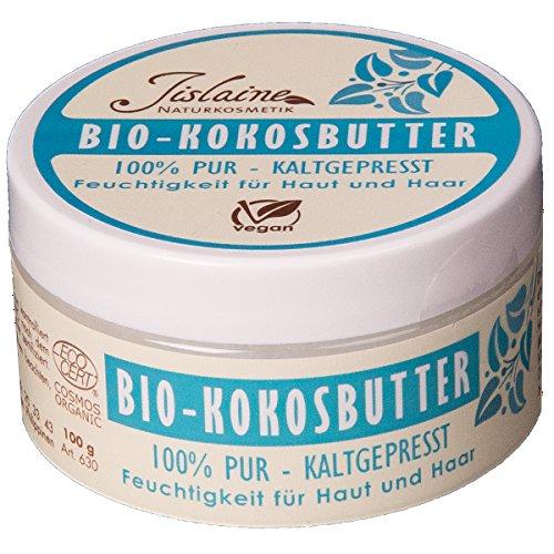 Jislaine Bio-KOKOSBUTTER* 100g kaltgepresst - Unraffiniert, vegan & ohne Palmöl - Als Creme für Haut, Haare oder Lippen & auch als Make-up-Entferner verwendbar