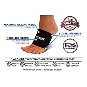 SB SOX Compression Arch Sleeves for Men & Women - Perfect Option to Our Plantar Fasciitis Socks - For Plantar Fasciitis Pain Relief and Treatment for Everyday Use with Arch Support (Black, XL)