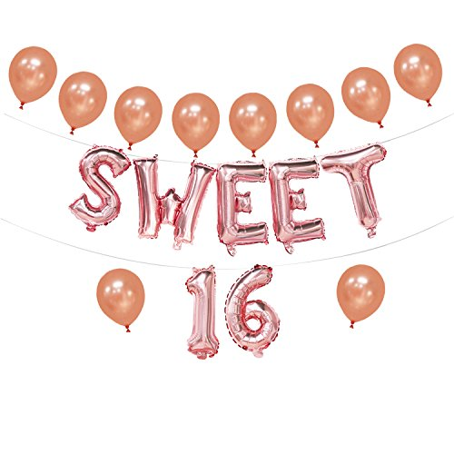 Sweet 16 Balloons Rose Gold | Sweet 16 Foil Letter Balloons Banner | 16th Birthday Decorations for Girls | 16th Birthday Party Supplies | 16inch ()