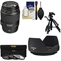 Canon EF 100mm f/2.8 Macro USM Lens with 3 UV/CPL/ND8 Filters + Hood + Macro Tripod + Kit for EOS 6D, 70D, 5D Mark II III, Rebel T3, T3i, T4i, T5, T5i, SL1 DSLR Cameras
