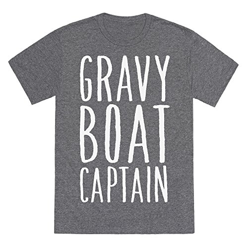 Gray Boat Gravy (LookHUMAN Gravy Boat Captain Heathered Gray 2X Mens/Unisex Fitted Triblend Tee by)