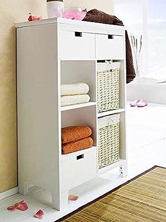 Badezimmerschrank Weiß 82cm Mit Körbe Badregal Badezimmermöbel