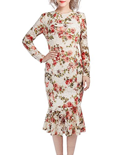 KIMILILY Damen Rundhals Langarm Spitzenkleid Figurbetontes kleid ...