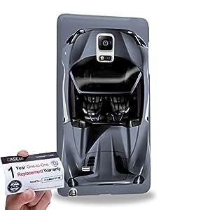 Case88 [Samsung Galaxy Note Edge] 3D Printed Snap-on Hard Case & Warranty Card - Art Design Sliver Sport Car