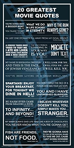 20 Greatest Movies Great Quotes Classic Film Lines Typography Decorative Print (Unframed 12x24 Poster)