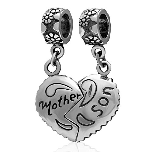 Ollia Jewelry Antique 925 Sterling Silver 2pcs Dangle Beads Mother and Son Heart to Heart Charm Family Love (Antique Womens Beads)
