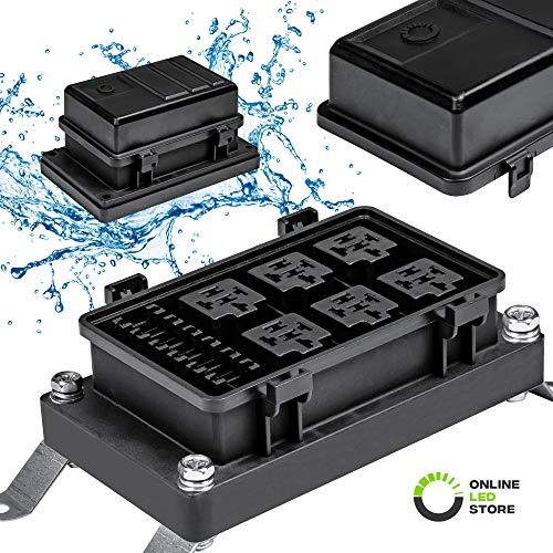 ONLINE LED STORE Waterproof Relay/Fuse Block for Automotive and Marine [6-Slot Bosch Style Relay Holder] [6-Slot Blade Fuse Holder] [Silicone Seals] Fuse Box for Jeep Boat Car Or Truck