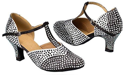 Tda Ld039 Donna T-strap Sparkle Satin Latino Moderno Samba Rumba Scarpe Da Ballo Di Nozze Nero