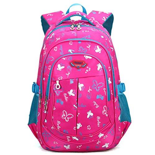 KAXIDY Schulrucksäcke Schultaschen Rucksäcke Kinderrucksack Rucksack Für Jungen Mädchen (Rose-Rot)
