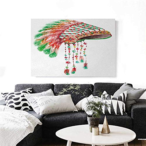 homehot Feather Wall Paintings Tribal Chief Costume Headdress Native American Culture Ethnicity Symbol Print On Canvas for Wall Decor 24