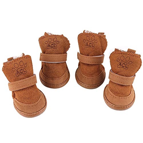 Dog Boots YILEGOU Pet Shoes Puppy Dog Shoes for Hot Pavement with Adjustable Straps Anti-Slip Sole Paw Protectors for Teddy Chihuahua Poodle Cat 4 Pack (s)