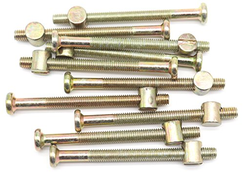 10-Pack M6 - 1.0 x 75mm Allen Head Furniture Cot Crib Bed Bolt Barrel Nut, Hex Key Drive Socket Cap Bolts Screws For Crib Bed, Zinc Plated