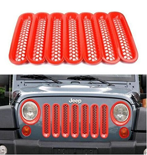 jeep jk red grill inserts - 4