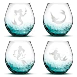 Cheap Set of 4, Mermaid Stemless Wine Glasses, Crackle Teal, Made in USA, Hand Etched Gifts, Sand Carved by Integrity Bottles