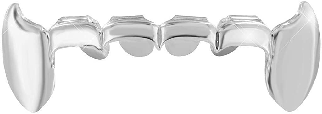 Big Dawgs Bling Hip Hop Silver Lower Half Fang Grillz with at-Home Mold Kit