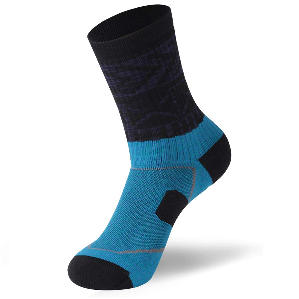 Forcool Climbing Socks for Men, Summer Breathable Moisture Wicking Cooldry Fabric Athletic Sports Outdoor Socks for Cycling Hiking Camping Climbing Medium,Black & Blue by Forcool