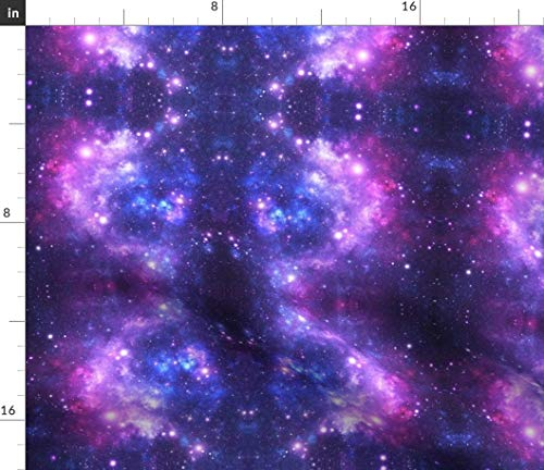 Spoonflower Outer Space Fabric - Purple Stars Galaxy Nebula Astronomy Science Store Print on Fabric by The Yard - Fleece for Sewing Blankets Loungewear and No-Sew Projects