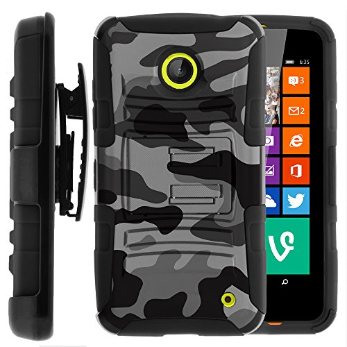 Nokia Lumia 635 Case, Nokia Lumia 630 Case, Two Layer Hybrid Armor Hard Cover with Built in Kickstand and Holster Belt Clip for Nokia Lumia 635, 630 (AT&T, Sprint, T Mobile, Cricket, Virgin Mobile, Boost Mobile, MetroPCS) from MINITURTLE | Includes Screen Protector - Winter Gray Camouflage