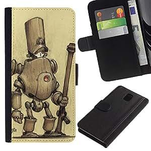 KingStore / Leather Etui en cuir / Samsung Galaxy Note 3 III / Monstre mignon dessin Sketch
