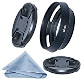 SIOTI 52mm Camera Tilted Vented Metal Lens Hood + Cleaning Cloth + 2pcs Lens Cap(52mm suit for Lens,58mm suit for Lens Hood) for Standard Thread Lens