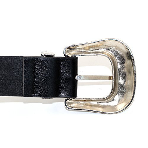 MoYoTo Women's 1 2/5 in.Black Retro Carved Double Buckle Western Leather Belts (Sliver Buckle-Double) by MoYoTo (Image #5)