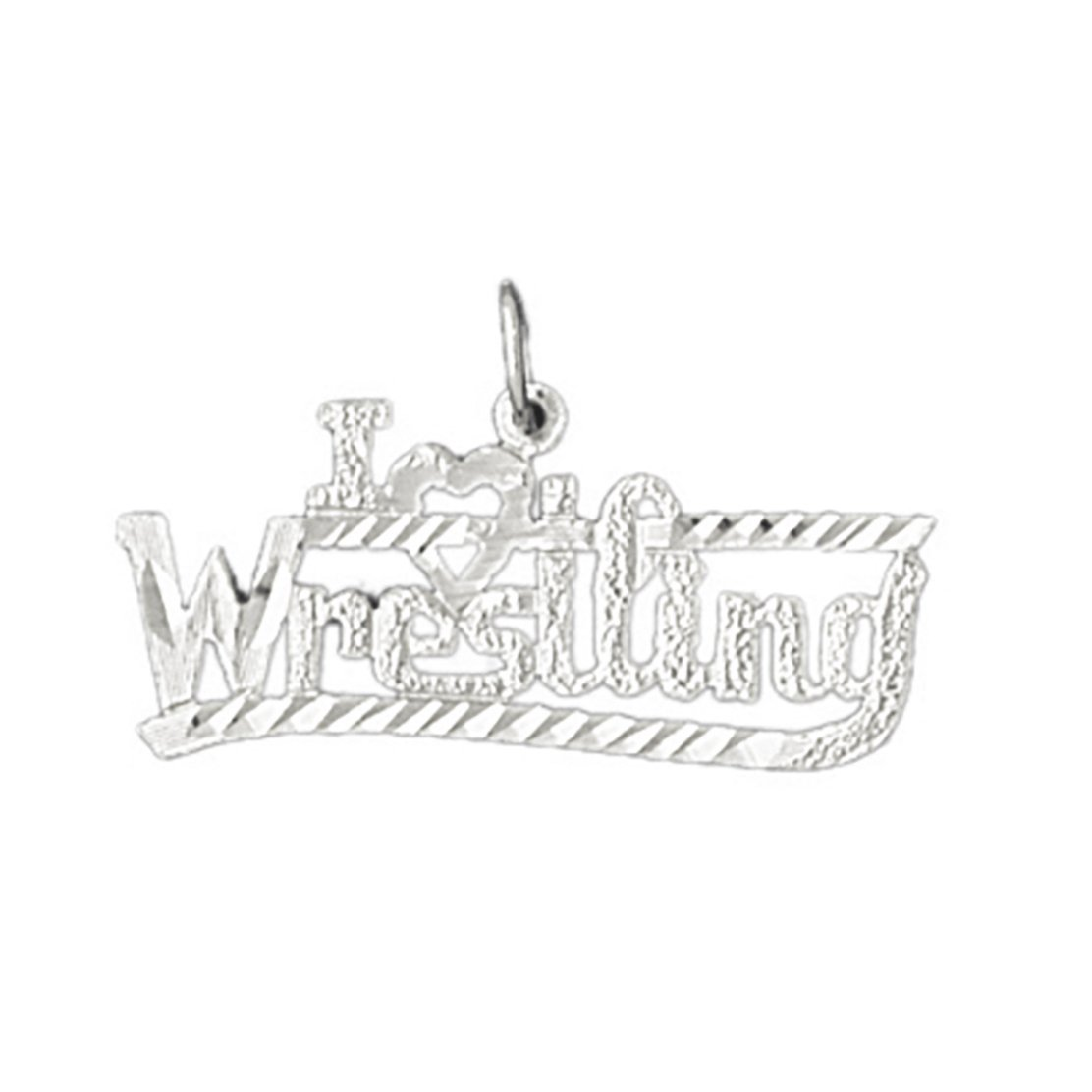 14k White Gold I love wrestling Pendant (25 x 19 mm) by K&C