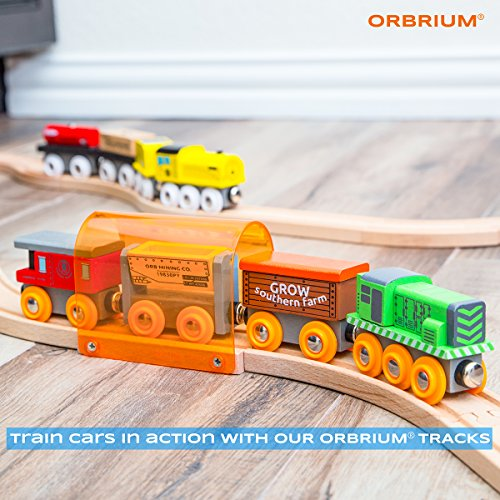 Orbrium Toys 12 Pcs Wooden Engines & Train Cars Collection Compatible with Thomas Wooden Railway, Brio, Chuggington by Orbrium Toys (Image #2)