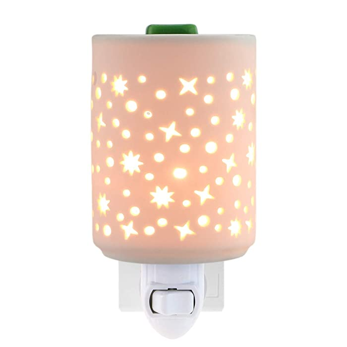 STAR MOON Plug in Warmers for Wax Melt, Pluggable Home Fragrance Diffuser, Hollowed-Out Work, No Flame, with One More Bulb, Starry Night