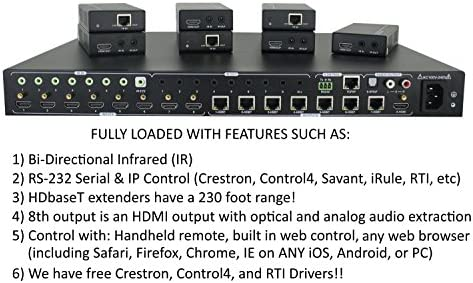 8×8 HDbaseT 4K Matrix SWITCHER with 7 PoC Receivers (CAT5e or CAT6) HDMI HDCP2.2 HDTV Routing SPDIF Audio CONTROL4 Savant Home Automation (8×8 HDbaseT Matrix with 1 HDMI Output) 51ugiEmo2cL